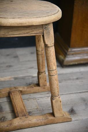 アンティーク 剥離 スツール 木製 フレンチ ラウンド