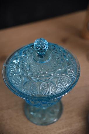 アンティーク ガラスポット コンポート フレンチ ブルー 1