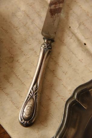 アンティーク モノグラム シルバーナイフ フランス