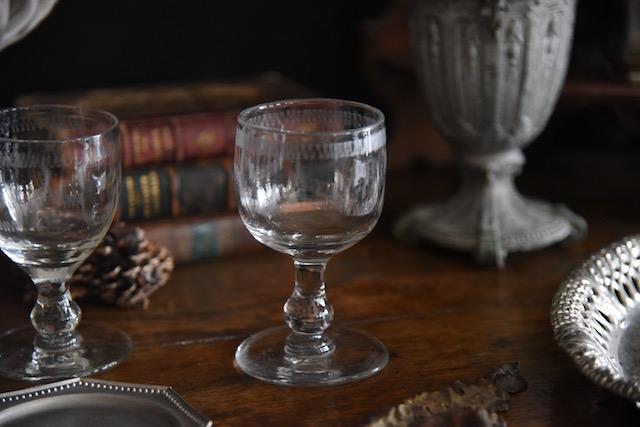 アンティーク 吹き ガラス フレンチ ワイングラス