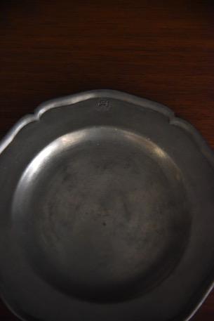 アンティーク 花リム ピューター 小皿