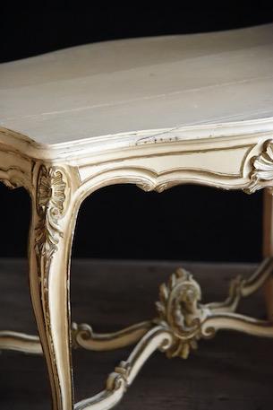 アンティーク  フレンチ  猫脚  ペイントテーブル  ルイ15世