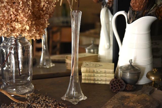 アンティーク  フラワーベース  一輪挿し  花瓶  ガラス  フランス