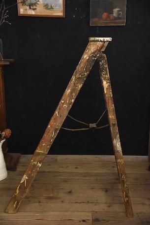 アンティーク  ステップ  木製  ラダー  フランス