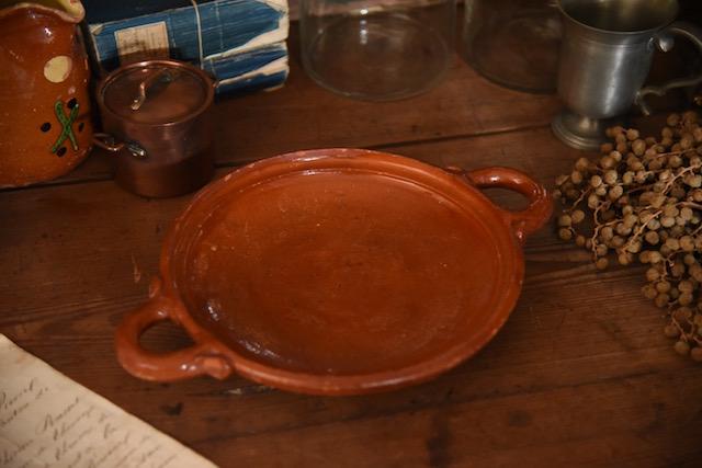 アンティーク 手持ち平鍋 陶器