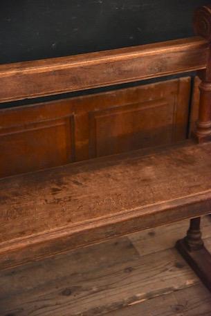 アンティーク 木製ベンチ 手すりに装飾