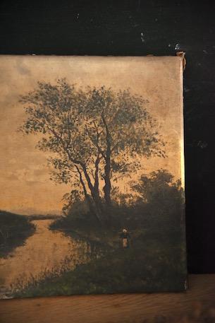 アンティーク 油絵 3 暁か黄昏か フランス