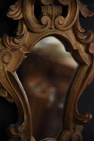 アンティーク 木製 ルイ15世 ウォールミラー