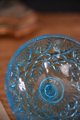 アンティーク ブルーガラス コンポート フレンチ