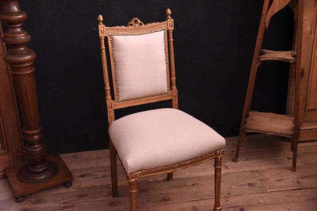 チェア 張替え リネン 椅子 フレンチ アンティーク